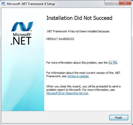 Failed to install  NET Framework 4 0 with Error Code HRESULT